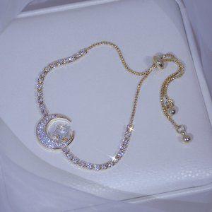 NEW 14K Gold Plated Diamond Moon Star Bracelet